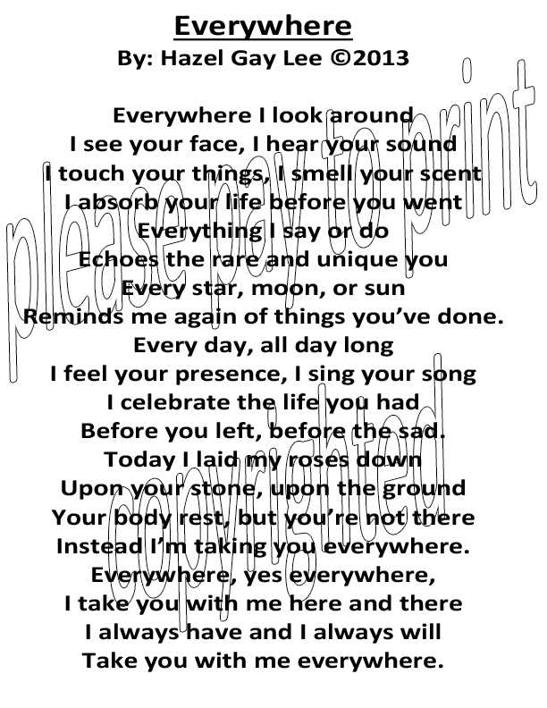 Losing A Loved One Everywhere Poem For Kevin