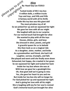 Alive Poem copyrighted full page