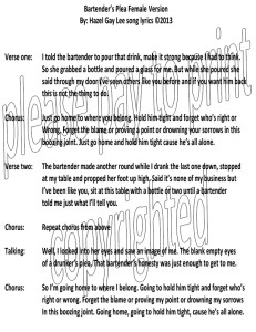 Bartender's Plea Song Lyrics Female Version