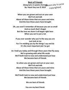 Best of Friends Poem from Song Lyrics