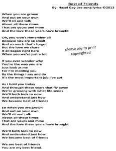 Best of Friends Song Lyrics