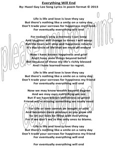 Everything Will End song lyrics in poem format