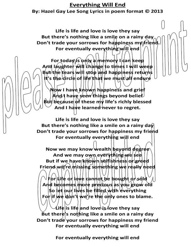 hazelgaylee everything will end � poem format of song