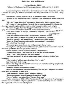 God's Dirty Men and Women Newspaper Column