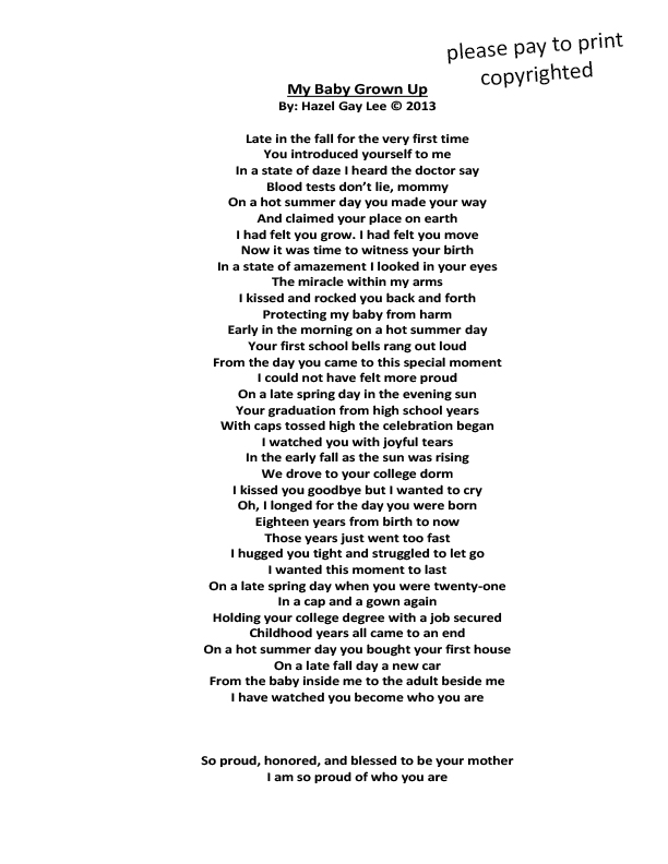 My Baby Grown Up Poem