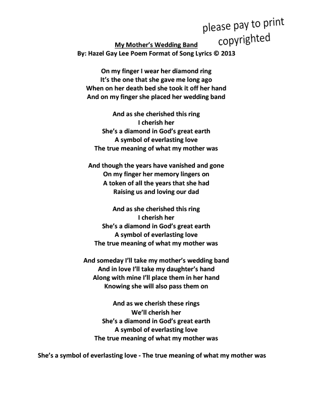 Hazellee My Mothers Wedding Band Poem Format Of Song