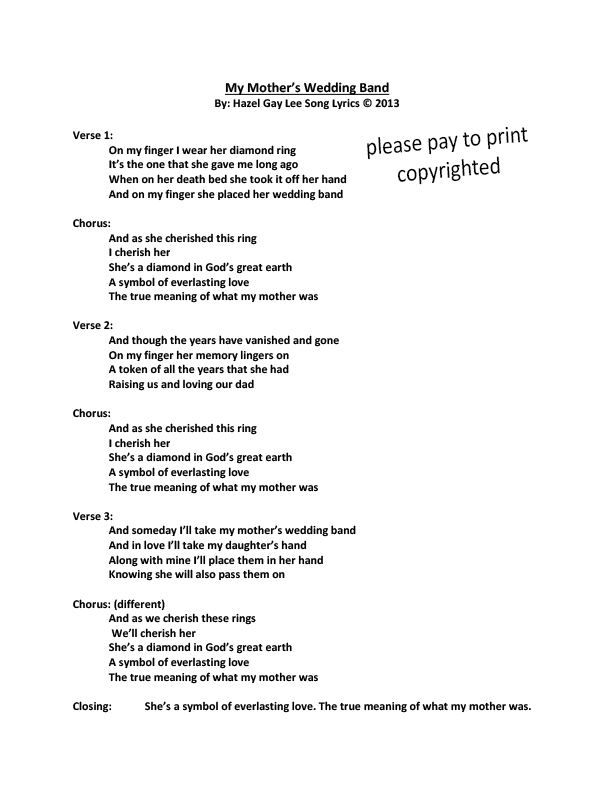 hazelgaylee My Mothers Wedding Band Song Lyrics Only Passing