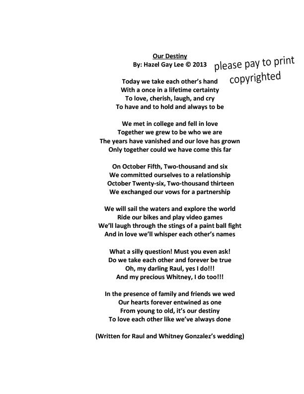 Our Destiny Wedding Poem For Whitney And Raul Gonzalez