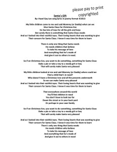 Santa's Gift Poem format Song Lyrics