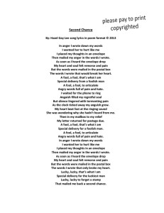 Second Chance Poem Format of Song Lyrics