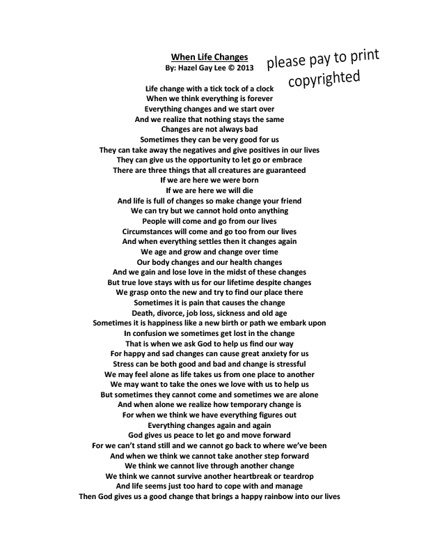 hazelgaylee | When Life Changes – Poem About How Life is Always Changing
